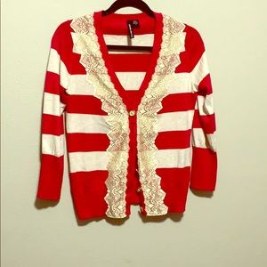 Anthropologie Charlotte Red Striped Lace Cardigan